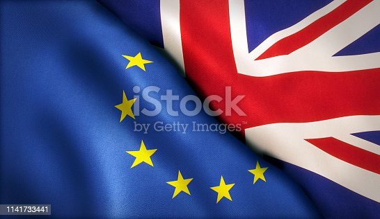 Brexit Theme British UK and EU Flags Background