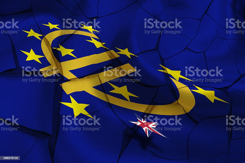 Brexit : Wavy flag of Euro currency symbol with stars. stock photo