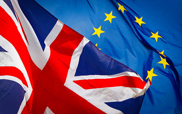 Brexit with UK and EU flag stock photo