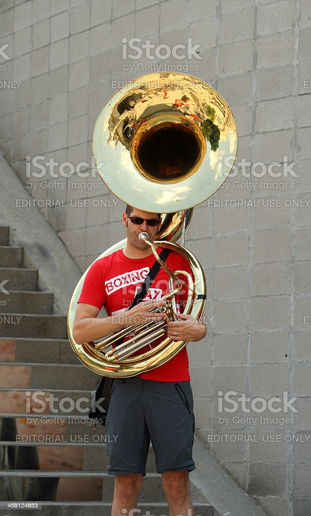 Brian Sanderson Playing Sousaphone stock photo