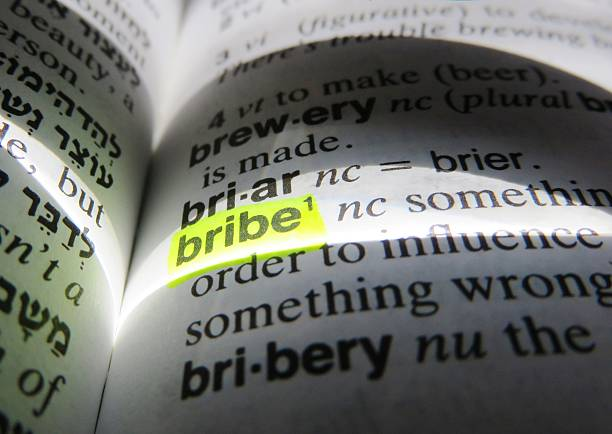 Bribe - dictionary definition stock photo