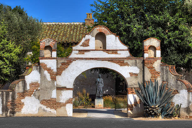 Brick and Adobe Gate of the Mission San Miguel Arcangel stock photo