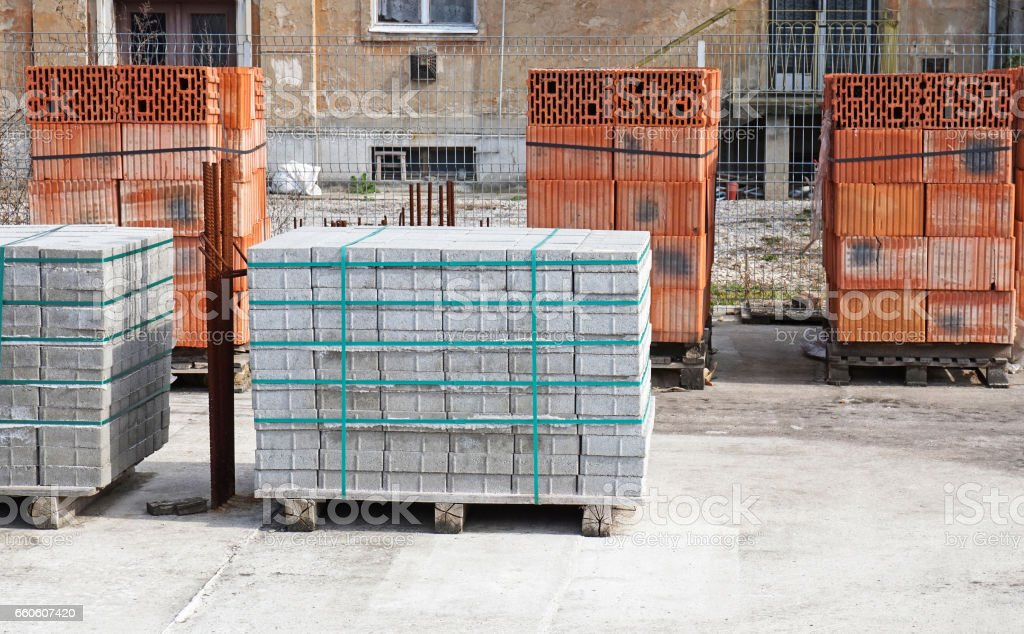 Brick and concrete construction materials at the construction site royalty-free stock photo