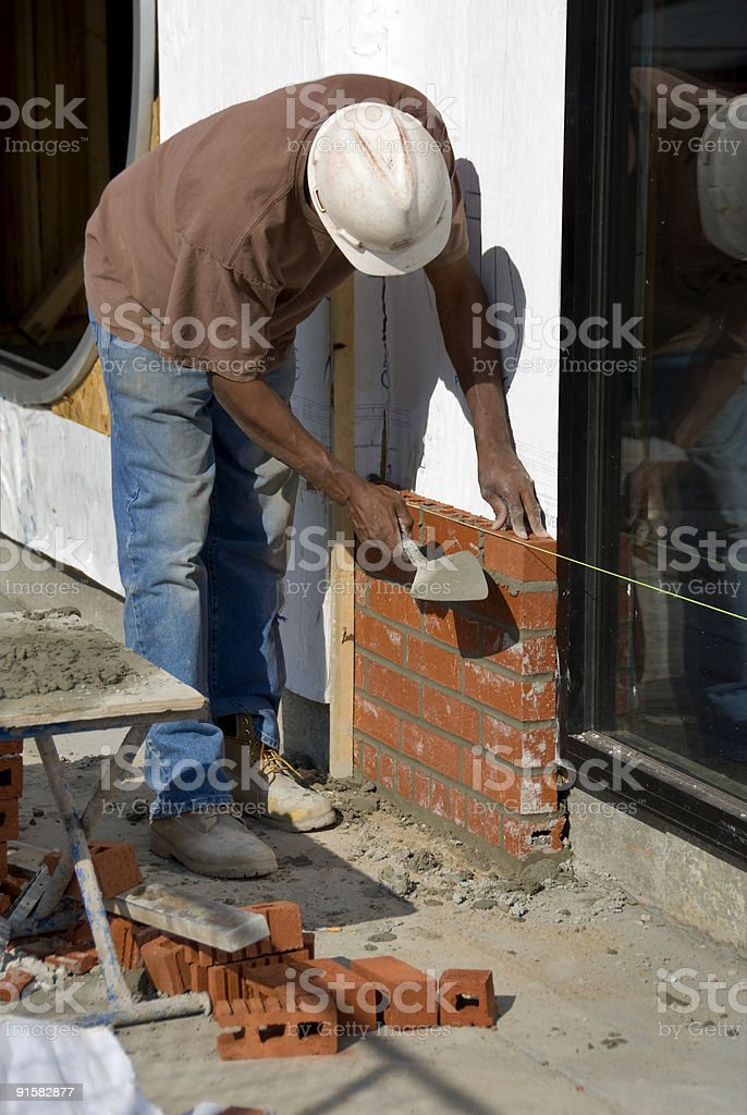 Brick and Mortar Work, Still by Hand royalty-free stock photo