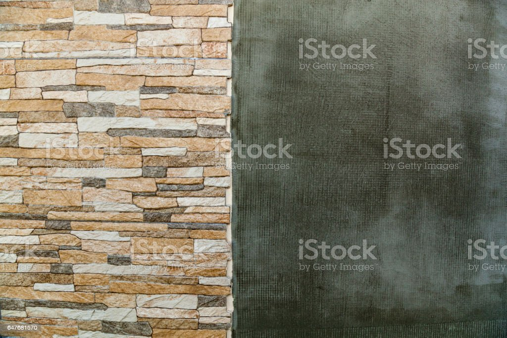 Brick and plaster. Brick and plaster wall as abstract background vector art illustration