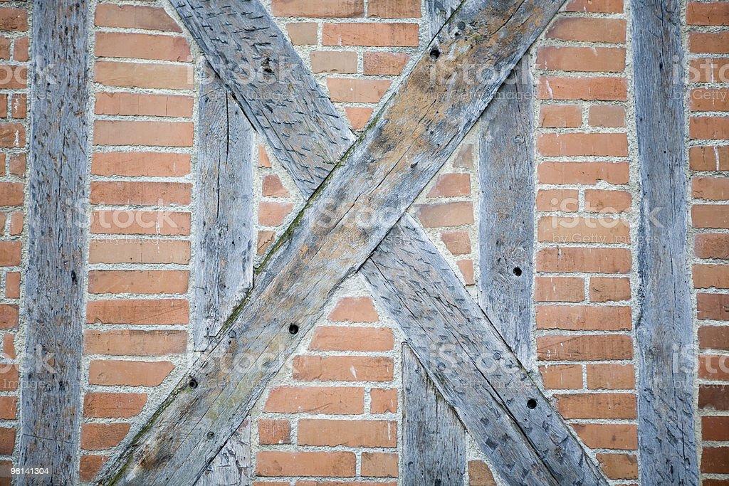 Brick and wood wall royalty-free stock photo