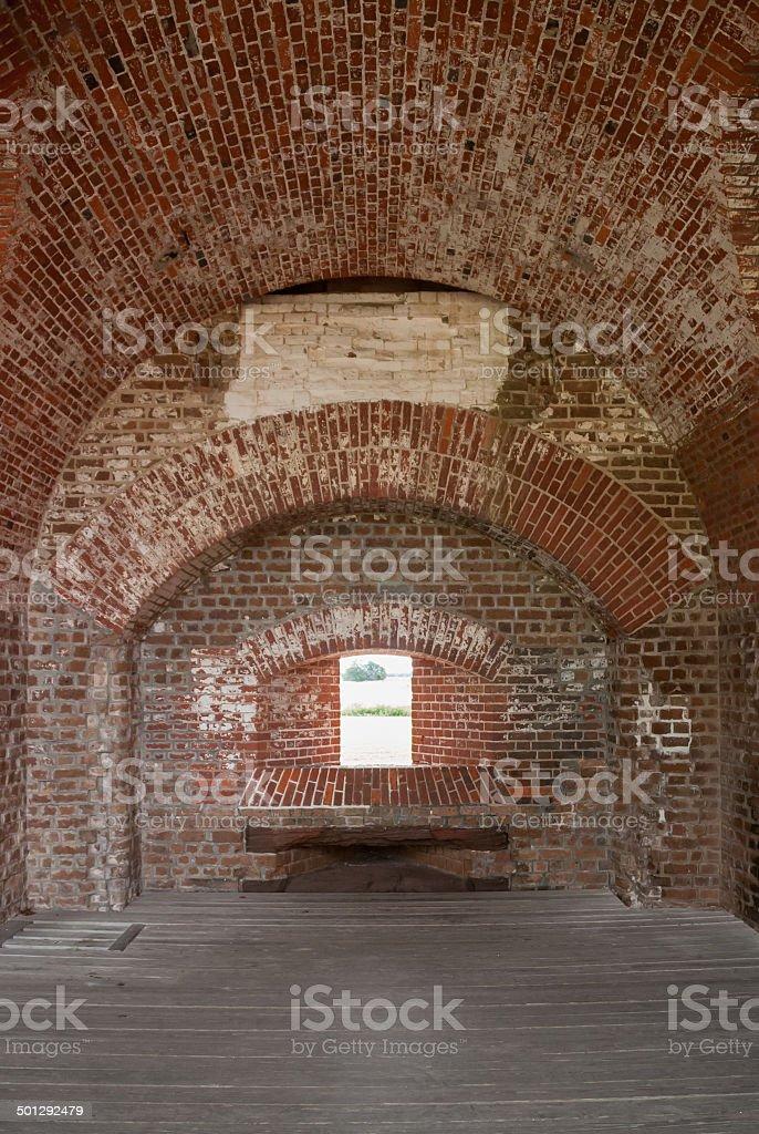 Brick Arches in Fort Pulaski stock photo