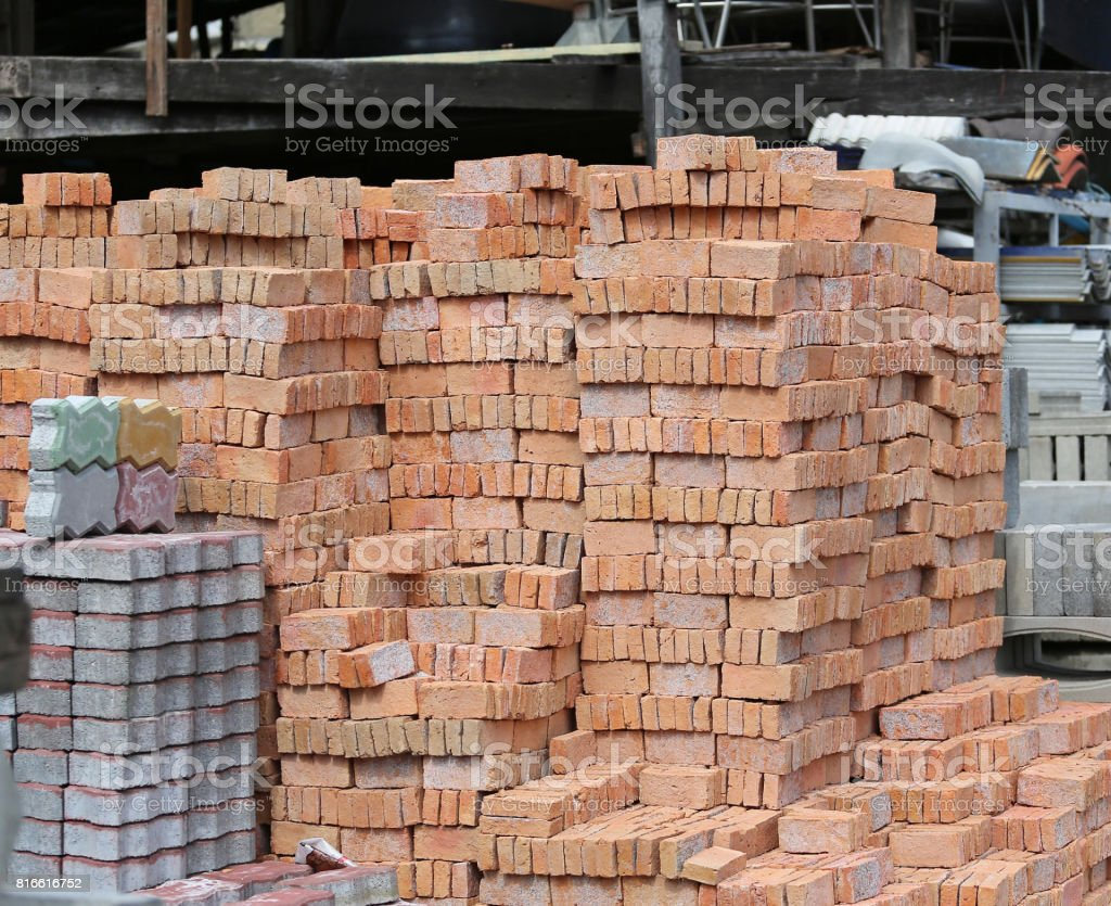 Brick block building material in construction site. stock photo