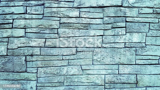 Brick blue block wall texture background