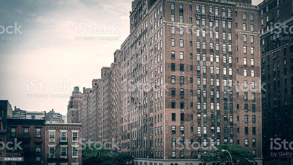 Brick building apartment blocks in New York City stock photo