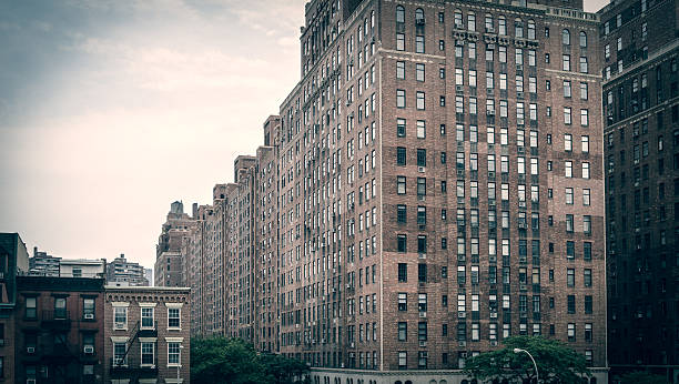 Brick building apartment blocks in New York City stock photo