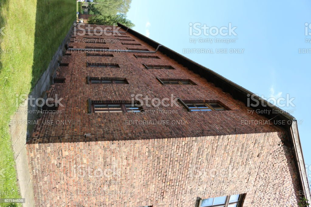 Brick building at Auschwitz nazi concentration camp. stock photo