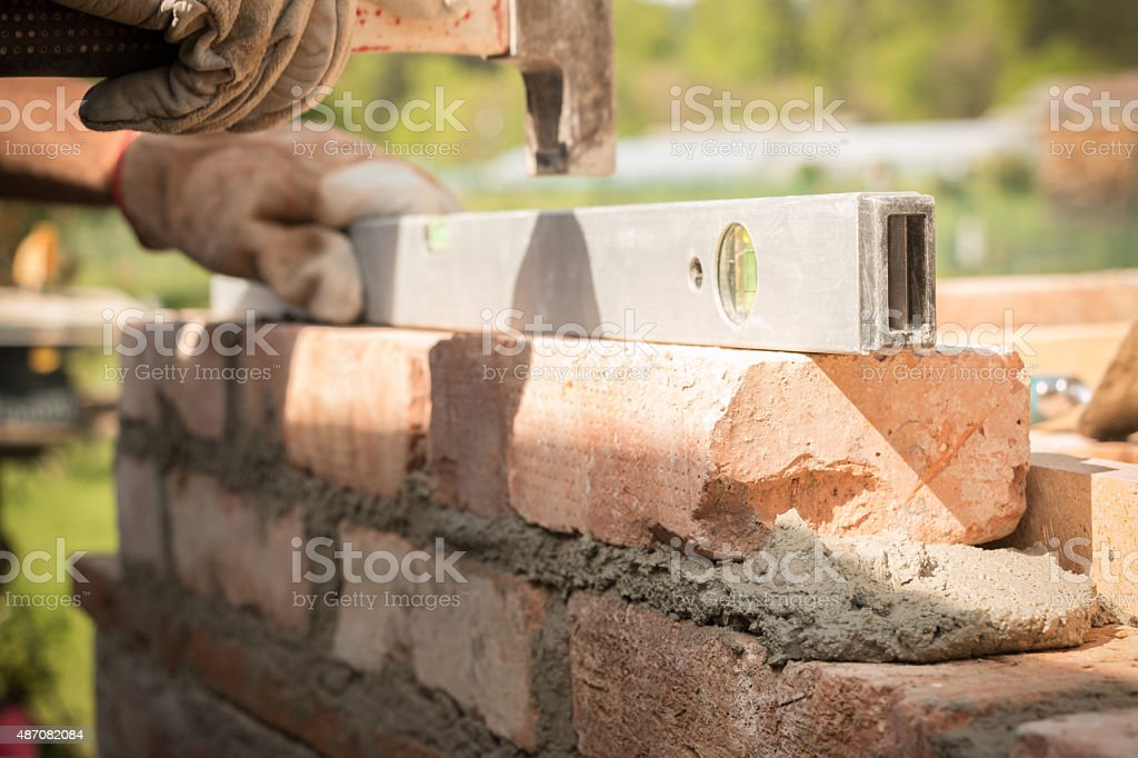 Brick building stock photo