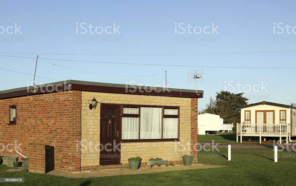 Brick chalet building on a caravan park - UK royalty-free stock photo