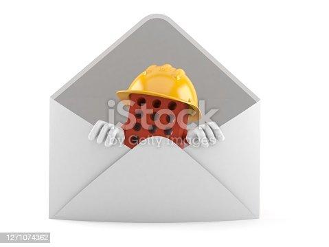 Brick character inside envelope isolated on white background. 3d illustration