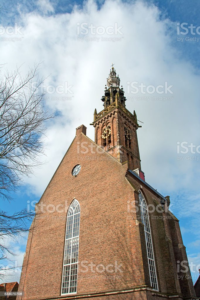 Brick church and bell tower  in Edam, Neatherlands- stock photo