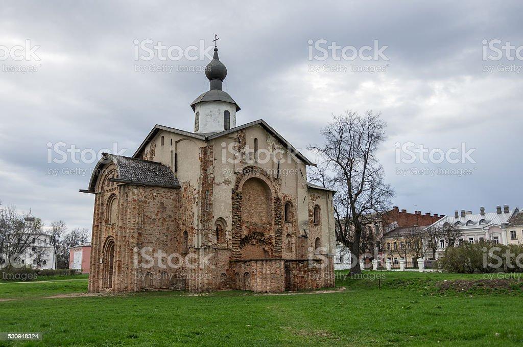 Brick Church Paraskeva was founded in 1207. Veliky Novgorod. Arc stock photo