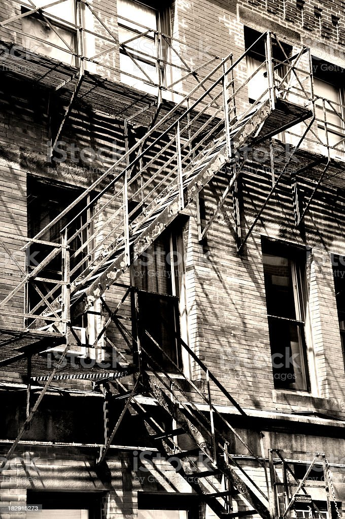 Brick City Building with Old Fire Escape stock photo