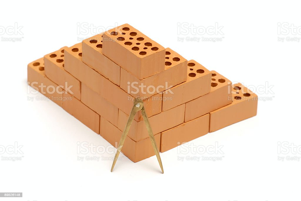 Brick corner with compass royalty-free stock photo