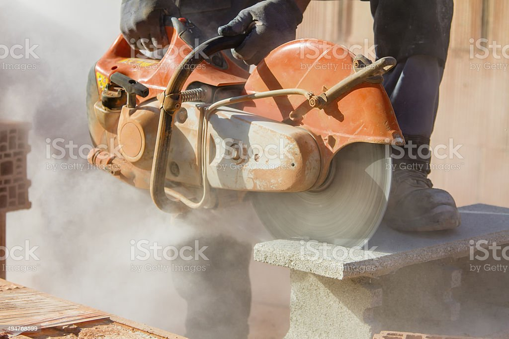 Brick cutting stock photo