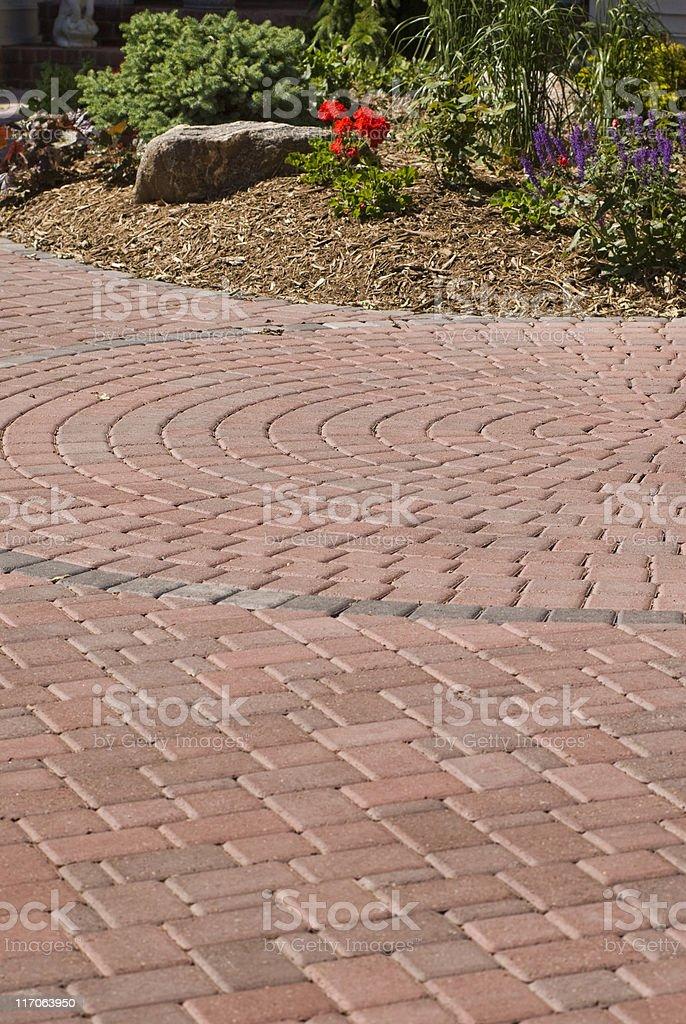 Brick driveway stock photo