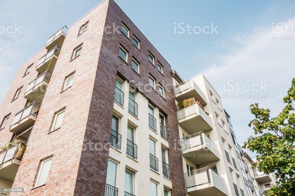 brick facade apartment house stock photo