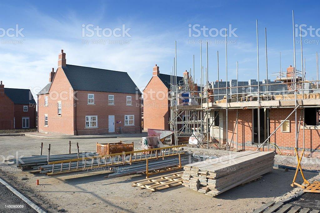 Brick facade homes under construction stock photo