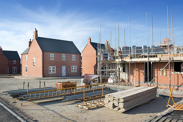 Brick facade homes under construction stock photo