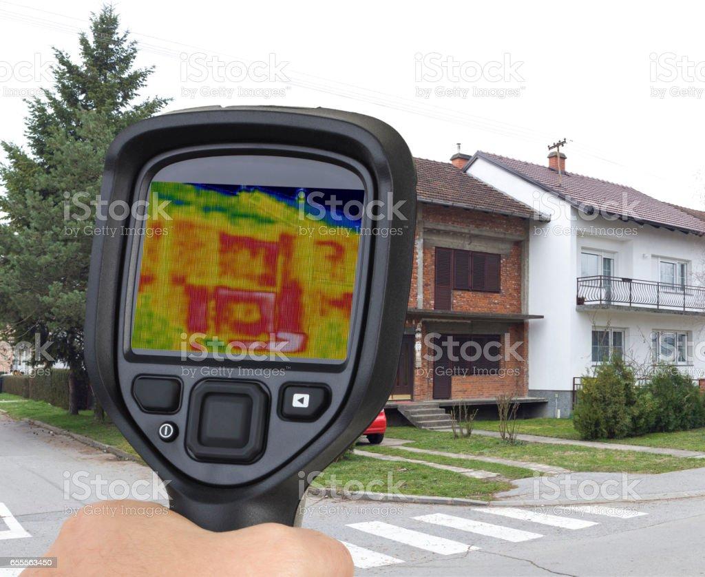 Brick Facade Infrared Leak stock photo