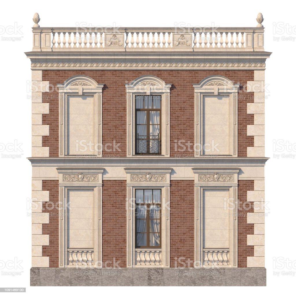 Facades De Maisons En Couleurs photo libre de droit de façade en brique dune maison de style classique  avec des niches et des fenêtres dans des couleurs claires rendu 3d banque