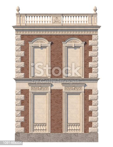 The facade of the house in the classical style of red brick with niches in bright colors. 3d rendering.