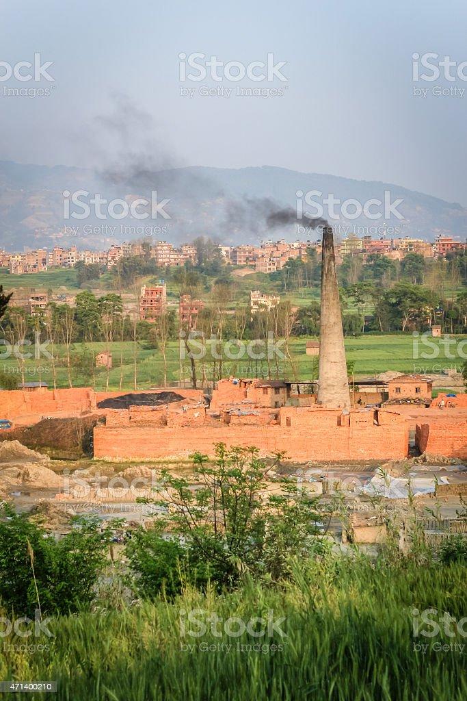 Brick factory in Nepal stock photo
