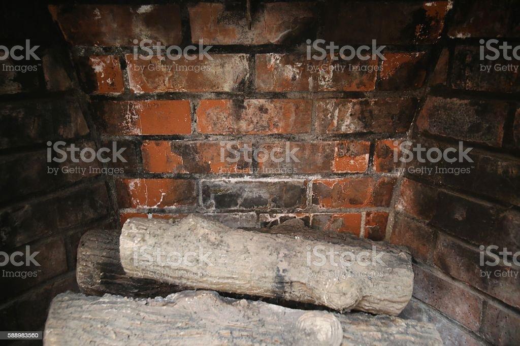 Brick Fireplace stock photo