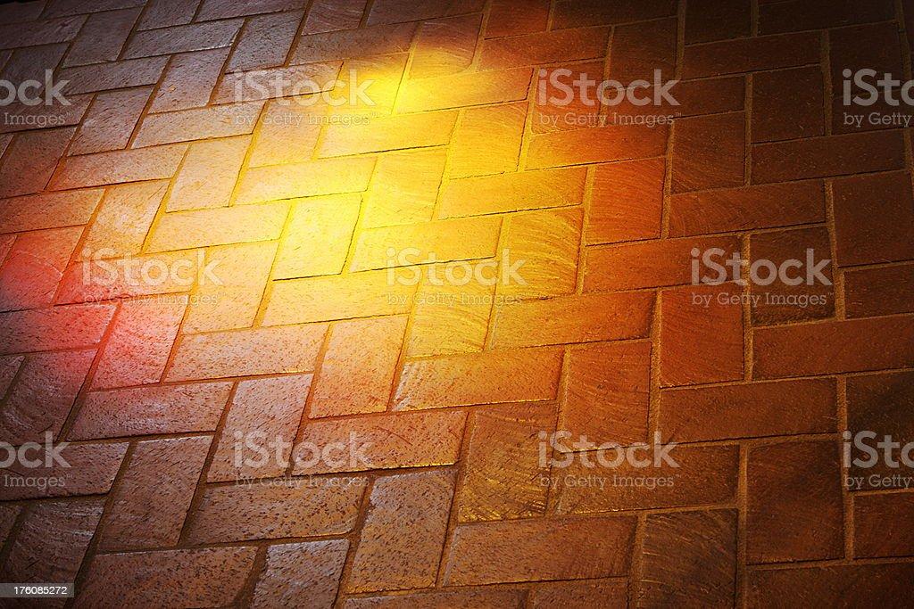 Brick Floor Pattern Stained Glass Sunbeam stock photo