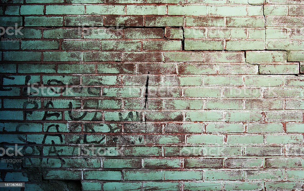 Brick Grunge Wall with Graffiti royalty-free stock photo