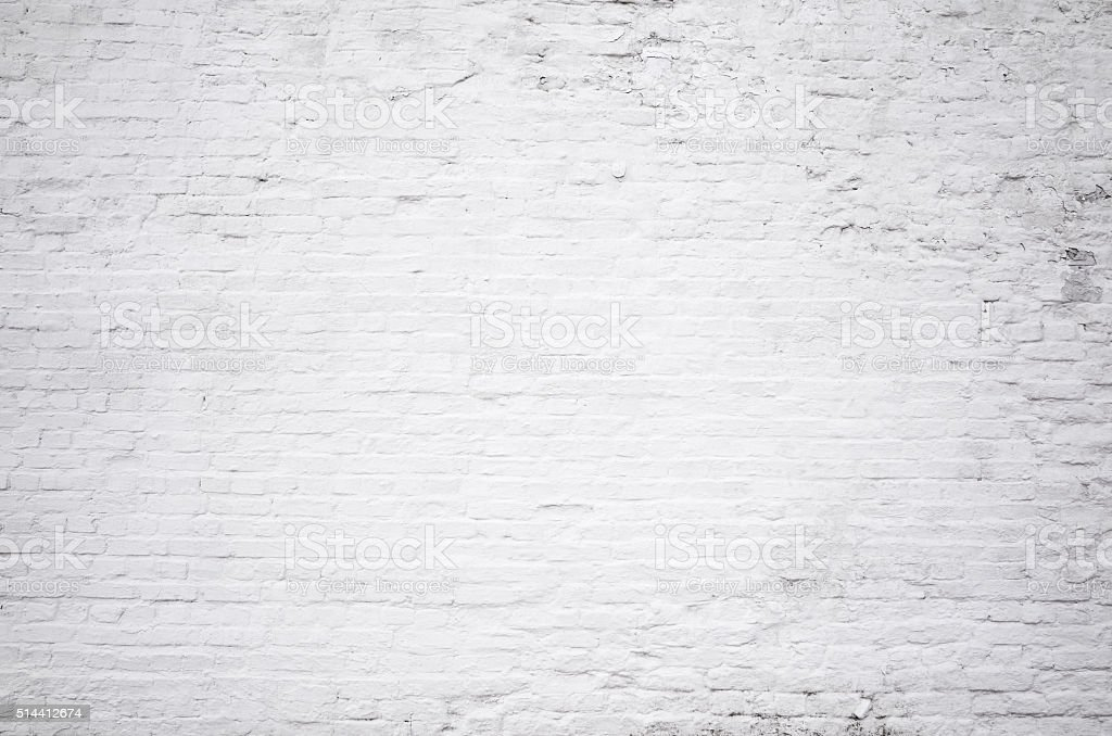 Brick grunge white painted crack wall texture background stock photo