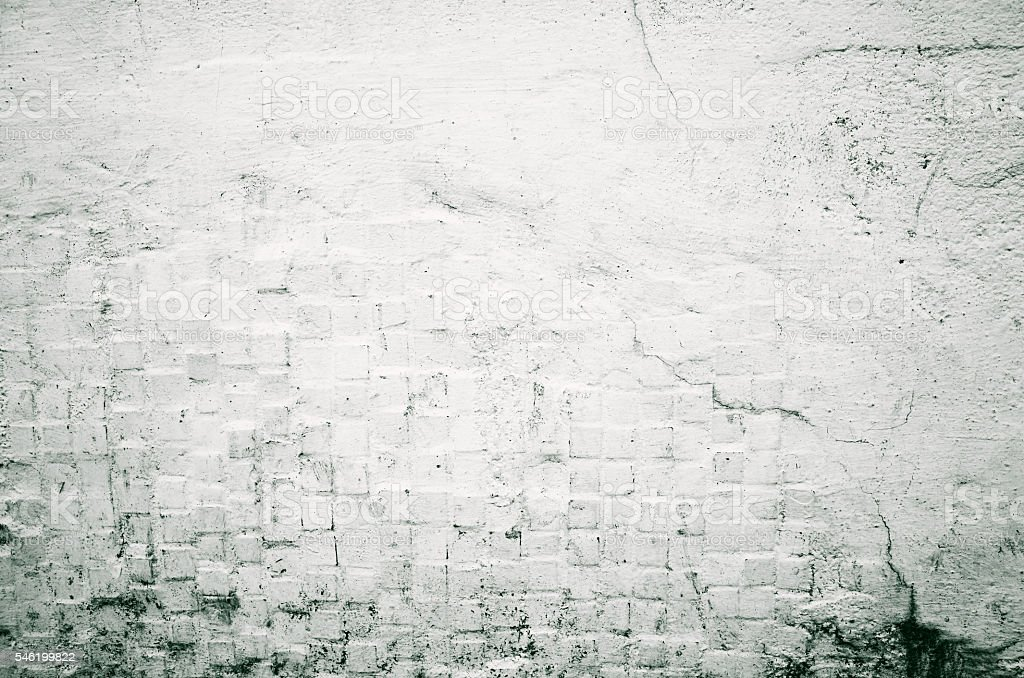 Brick Grunge White Painted Crack Wall Texture Background Royalty Free Stock Photo