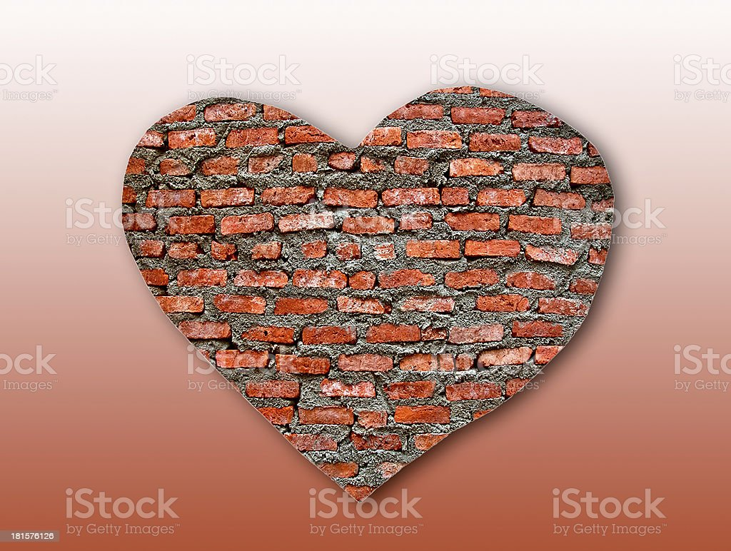 Brick heart on background texture royalty-free stock photo