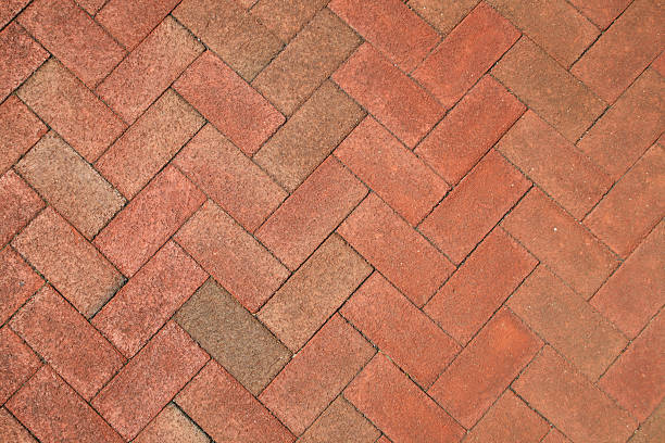 brick herringbone background stock photo