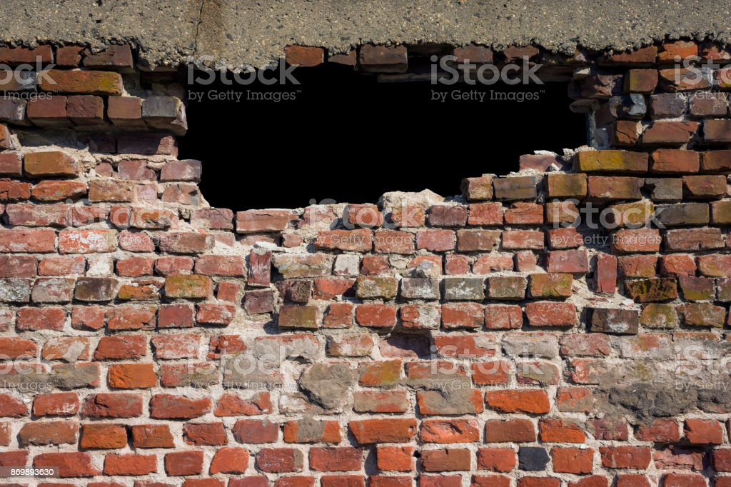 Brick Hole in the Wall stock photo