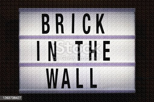 Words 'Brick In The Wall' in Light Box Trend with Brick Background. This is an image for social history as once again our 'comrades' think they know what is best as they silence freedom of speech, freedom of academic belief and freedom of scientific belief for the greater good? We have been here before, and we will no doubt be here again in the dim and distant future. Concept Images for Dark Times.