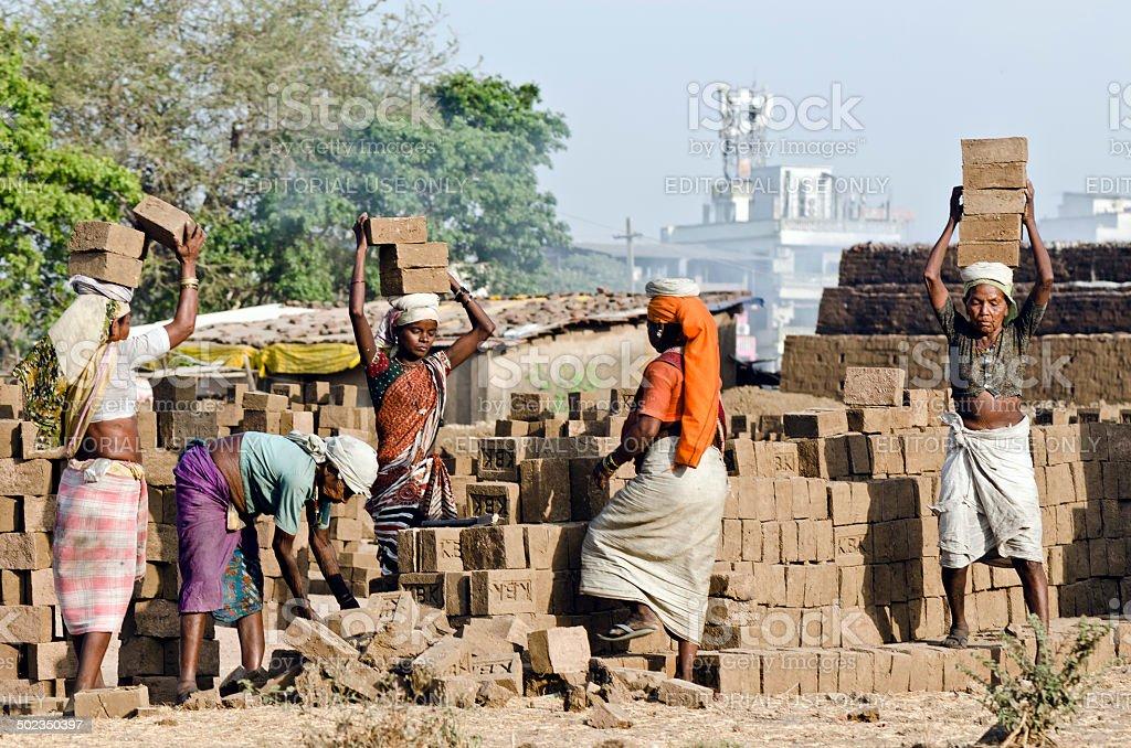 Brick Kiln Workers, Mumbai stock photo