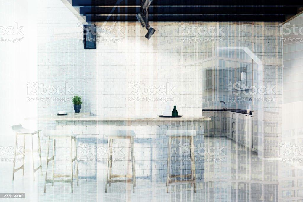 Küchenbar Hocker Und Eine Tür Doppelt Ziegel Stockfoto und ...