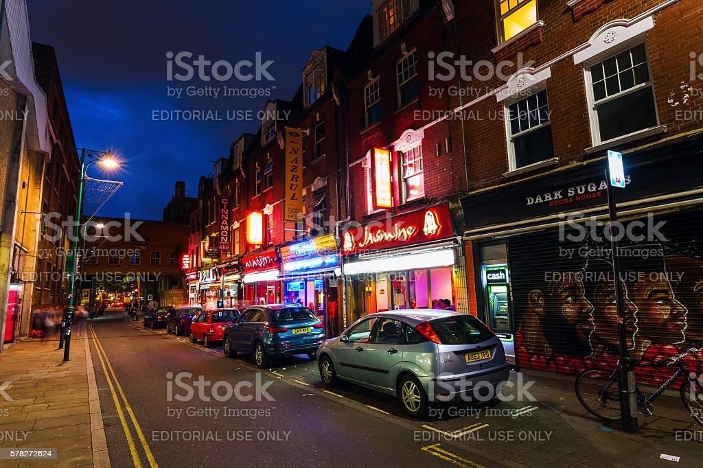 Brick Lane in London, UK, at night stock photo