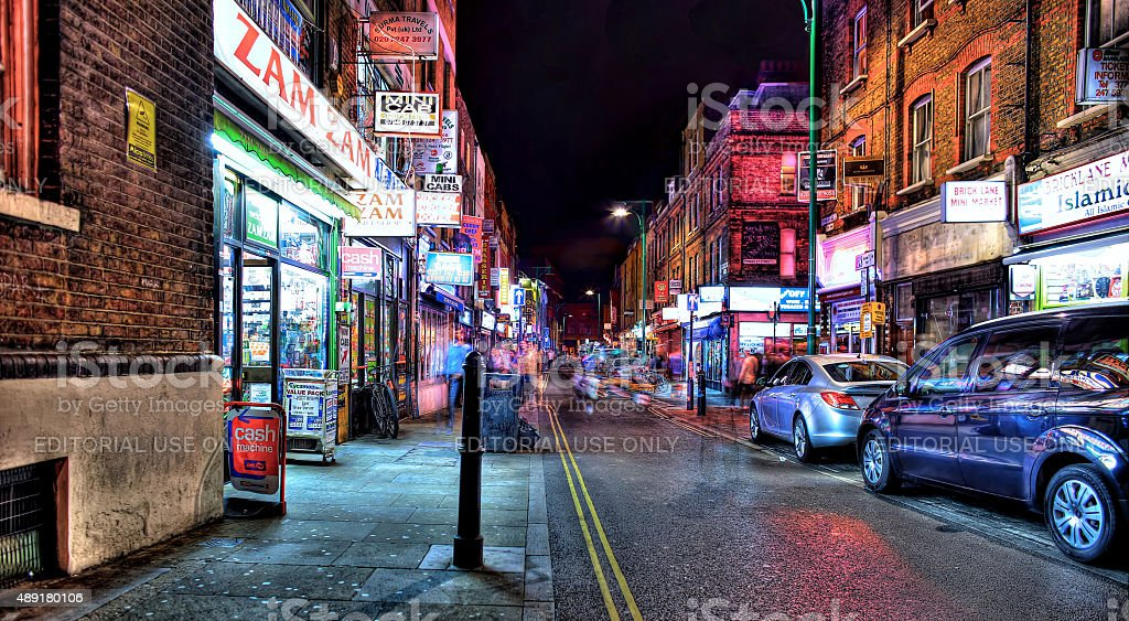Brick Lane in the evening stock photo
