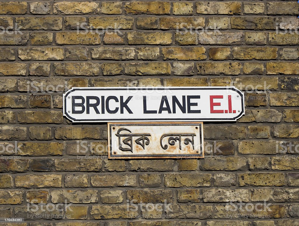 Brick lane sign in London stock photo