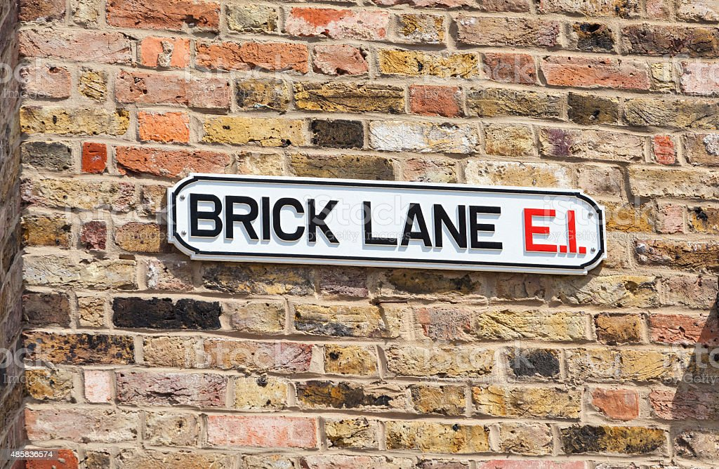Brick Lane Street Sign, London, England stock photo