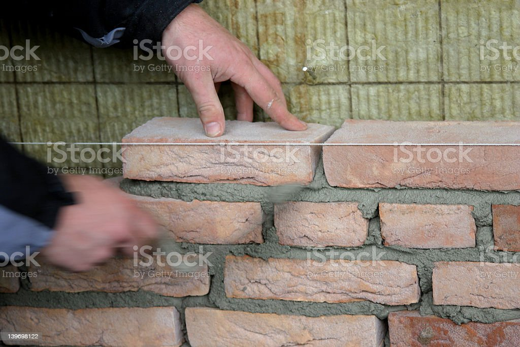 brick laying royalty-free stock photo
