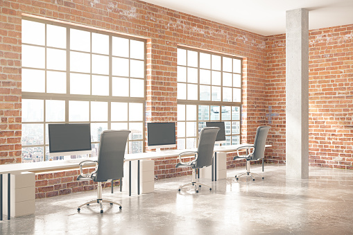 Brick office with city view