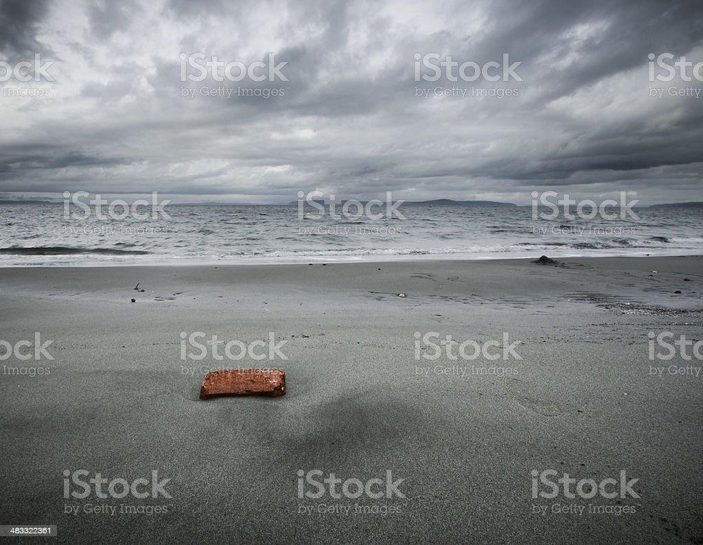 Brick on Sand stock photo